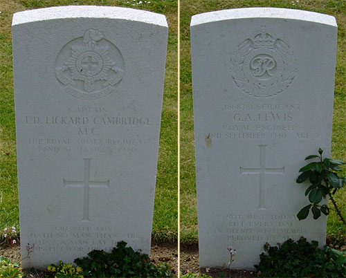 Graves of Capt. Pickard-Cambridge and Sgt. Lewis